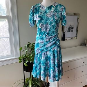 Vintage blue floral party dress ruffled skirt